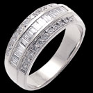 A488C Baguette and Round Diamond Wedding Band White Gold