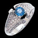 S1859XR Ceylon Sapphire Vintage Engagement Ring Pave Sides