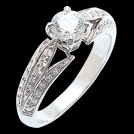 S1545XR Leaf Theme Vintage Style Brilliant Cut Engagement Ring