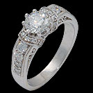 S1851 Vintage Style Brilliant Cut Diamond Engagement Ring