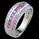 A488S Princess Pink Sapphire Channel set and Millgrain Diamond R
