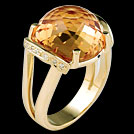 C1785 Faceted Dome Citrine and Diamond Ring