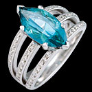 C1776 Marquise Teal Topaz and Millgrain Diamond Bar Ring