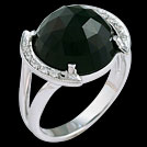 C1708 Dome Checker Cut Black Tourmaline and Diamond Ring