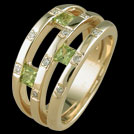 C1554 Square Peridot and Diamond Triple Bar Gold Ring