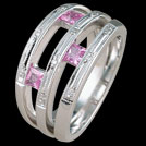 C1554B Princess Cut Pink Sapphire and Millgrain Diamond Triple B