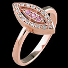 C1577 Deco Vintage Marquise Pave Pink Sapphire and Diamond Ring