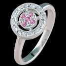 C1578 Deco Vintage Circle Pave Pink Sapphire and Diamond Ring