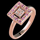 C1579B Deco Vintage Square Pave Pink Sapphire and Diamond Ring