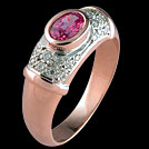 S455 Oval Pink Sapphire and Pave Diamond Rose and White Gold Rin