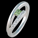 C1498 Split Bar Square Peridot and Diamond Ring