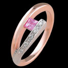 C1498B Split Bar Square Pink Sapphire and Diamond Two Tone Gold