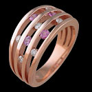 C1607 Four Bar Split Pink Sapphire and Diamond Rose Gold Ring
