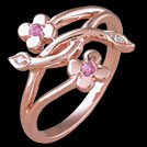 F1602 Intertwined Flower Vine Pink Sapphire and Diamond Rose Gol