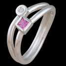 F1649 Wave Bar Pink Sapphire and Diamond Gold Ring