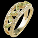 C1580 Marquise Peridot and Millgrain Diamond Yellow Gold Ring