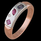 C1655 Pink Sapphire and Rhodolite and Iolite Diamond Scatter Rin
