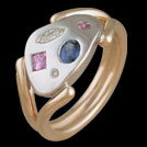 C1657 Artist Palette Pink Sapphire and Iolite and Diamond Two To