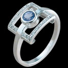C1687 Round Ceylon Sapphire and Diamond Window Ring