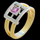 C1690 Square Window Ring Pink Sapphire and Diamond Two Tone Ring