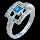 C1691 Square Window Ceylon Sapphire and Diamond White Gold Ring