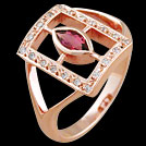 C1694 Marquise Window Pink Tourmaline and Diamond Rose Gold Ring