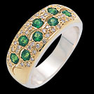 C1384 Tsavorite Garnet Pave Diamond Two Tone Gold Ring