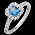 C1440 Octagon Ceylon Sapphire and Millgrain Diamond White Gold R