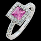 C1441 Princess Pink Sapphire Millgrain Diamond White Gold Ring