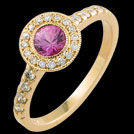 C1442 Round Pink Sapphire and Millgrain Diamond Yellow Gold Ring