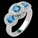 C1460 Vintage Three Stone Ceylon Sapphire and Millgrain Diamonds