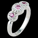 C1478 Dainty Vintage Three Stone Pink Sapphire and Diamond White