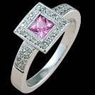 C1462 Square Pink Sapphire and Millgrain Diamond White Gold Ring