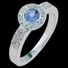 C1463 Round Tanzanite and Millgrain Diamonds White Gold Ring