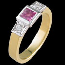 C1553 Princess Pink Sapphire and Brilliant Cut Diamond Two Tone