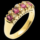 C1152 Vintage Filagree Carved Rhodolite and Diamond Bridge Ring