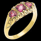 C533B Rhodolite Garnet Three Stone Vintage Carved Diamond Ring