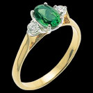 C416 Oval Biron Emerald and Brilliant Cut Diamond Two Tone Ring