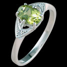 C504 Claw Set Oval Peridot and Diamond Accent White Gold Ring