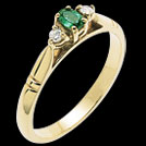 C104 Oval Emerald and ROund Diamond Claw Set Gold RIng
