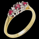 C408 Ruby and Diamond Vintage Claw Set Gold Ring