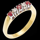 A1093 Ruby and Diamond Claw Set Bridge Ring Two Tone Gold