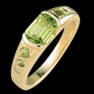 C1549 Barrel Cut Peridot and Round Peridot and Diamond Yellow Go