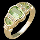 C965 Barrel and Half Moon Cut Peridot and Diamond Gold Ring