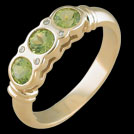 C986 Round Three Stone Peridot and Diamond Yellow Gold Ring