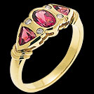 C994 Oval and Trillion Rhodolite Garnet and Diamond Yellow Gold