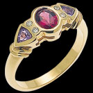 C900B Oval Rhodolite and Trillion Tanzanite Diamond Ring