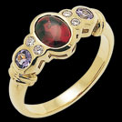 C882C Buff Top rhodolite and Round Tanzanite Diamond GoldRing