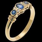C855 Oval and Round Ceylon and Diamond Gold Ring