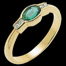 C836 Bezel Set Oval Emerald and Diamond Yellow Gold Ring